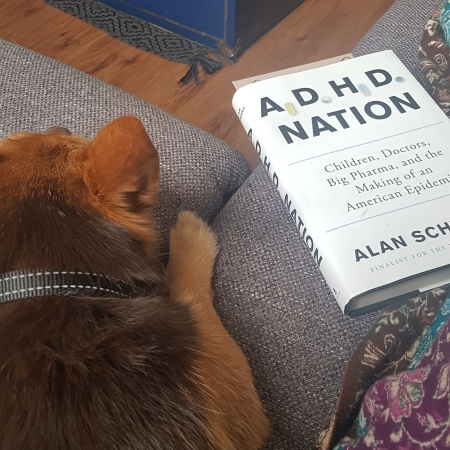 Picture of ADHD Nation book cover placed next to the cutest doggo, Brittany, and a coffee mug.